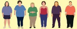 Cartoon illustration of 6 overweight women